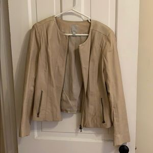 Real leather tan jacket.